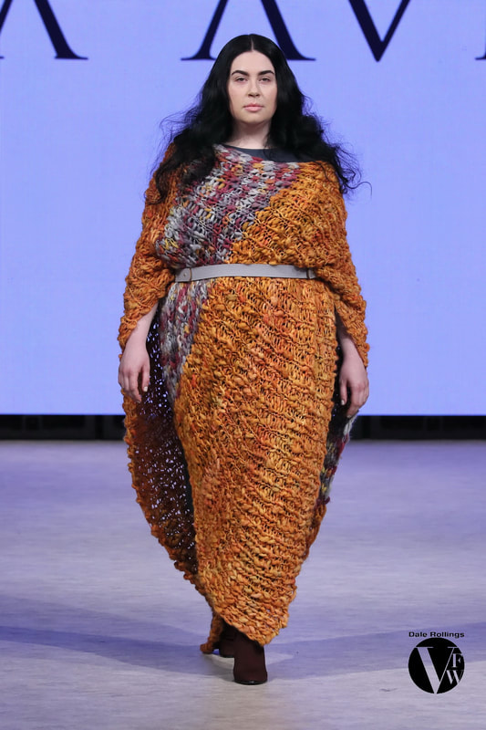 Autumn/Winter 19/20 Collection - LISA AVIVA - Wool Blanket Poncho, in Cadmium Orange/Plum